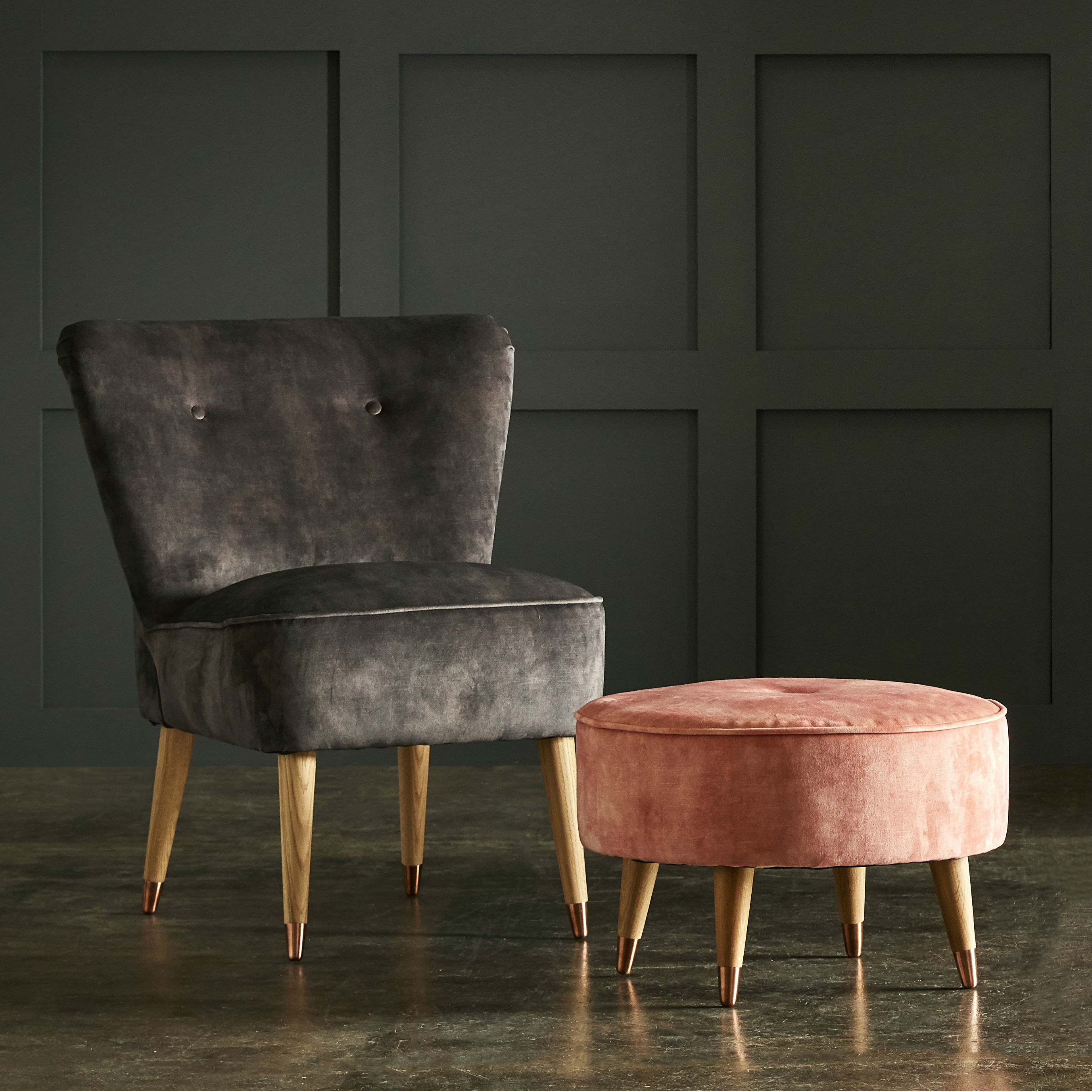 Cocktail Chair And Footstool Square
