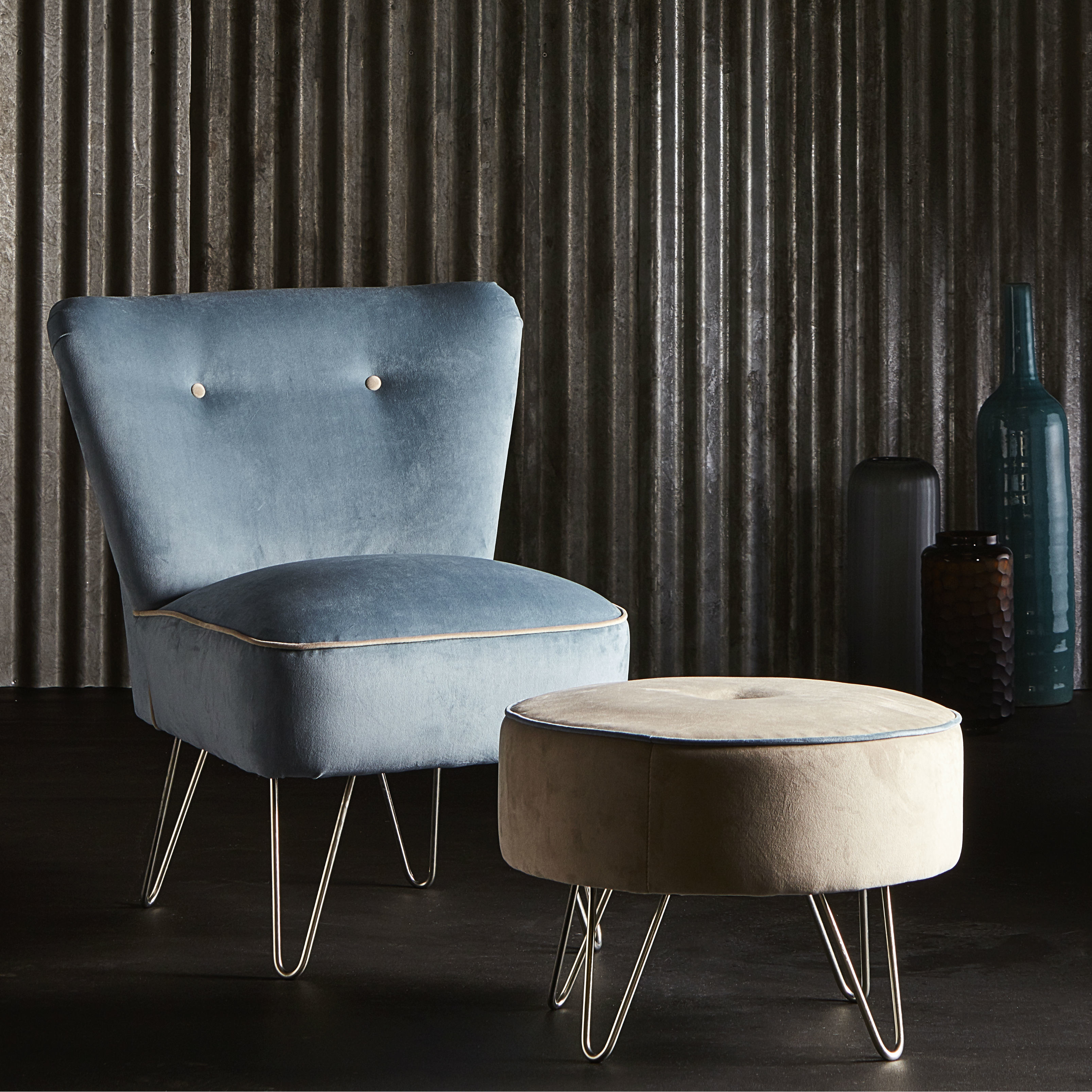 Hairpin Chair And Footstool Square